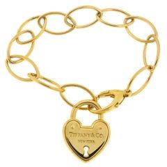 Tiffany & Co. 18 Karat Yellow Gold Link Heart Lock Bracelet