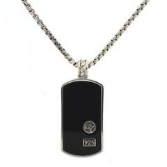 David Yurman Cable Sterling Silver Black and Onyx Dog Tag Pendant Necklace
