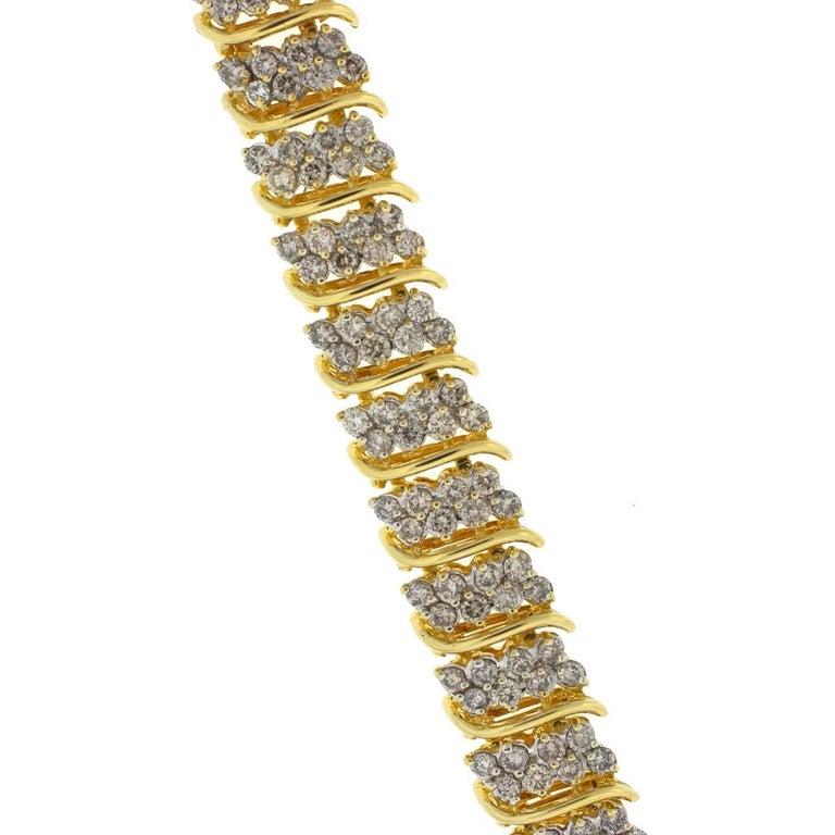 14 Karat Yellow Gold Ladies Diamond Bracelet 6.5 Carat