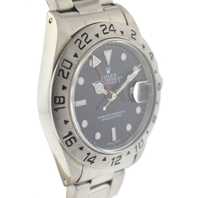 Rolex 16550 Explorer II Stainless Steel Watch In Excellent Condition For Sale In Boca Raton, FL