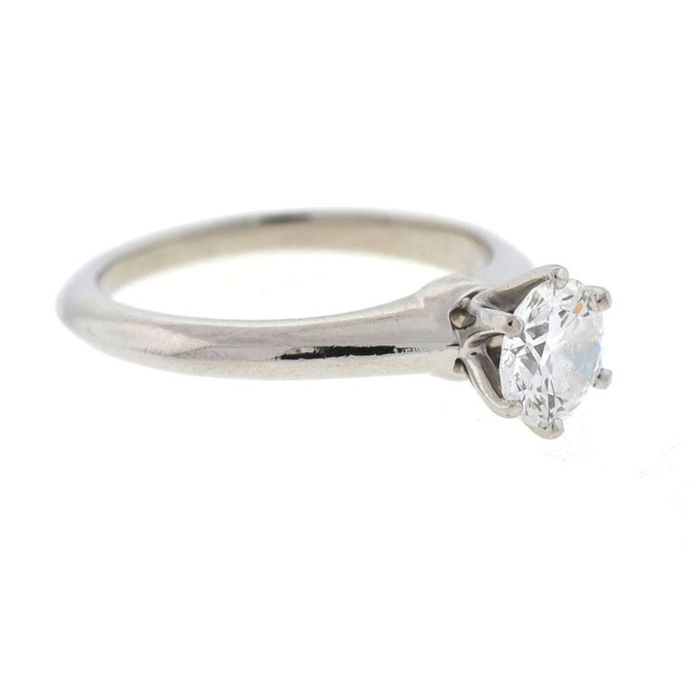 Tiffany & Co. Platinum Diamond Solitaire Engagement Ring In Excellent Condition For Sale In Boca Raton, FL