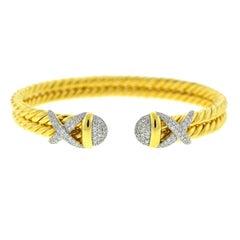 David Yurman 18 Karat Gold Cable Wrap Diamond Bangle Bracelet