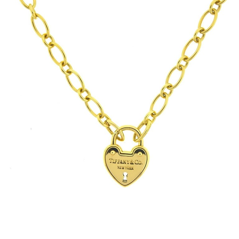 Tiffany and co 18 karat gold heart lock necklace at 1stdibs style heart lock necklace metal 18k yellow gold aloadofball Images