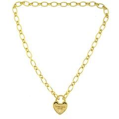Tiffany & Co. 18 Karat Gold Heart Lock Necklace