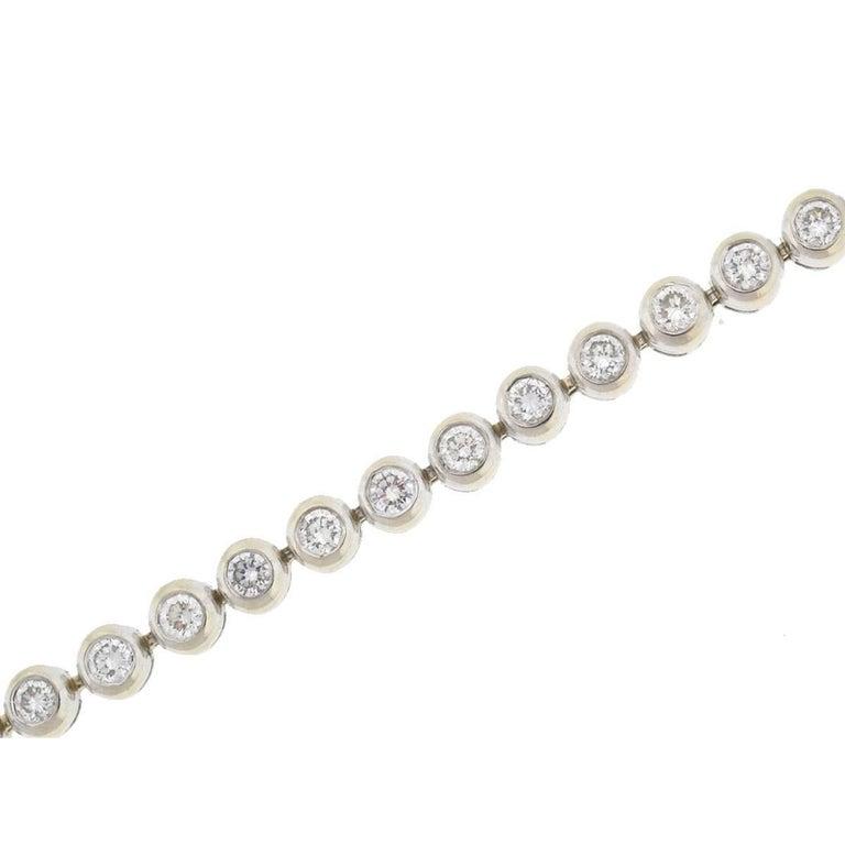 Company-N/A Style-Bezel Diamond Set Tennis Bracelet Metal-14k White Gold Stones-Diamonds Approx. 5.6 cts Weight-24.49 G Length-7.25