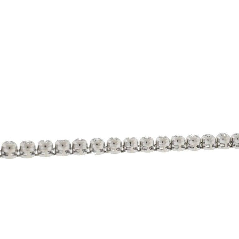 Women's 14 Karat White Gold Bezel Set Diamond Tennis Bracelet For Sale