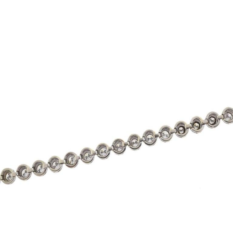 14 Karat White Gold Bezel Set Diamond Tennis Bracelet For Sale 1