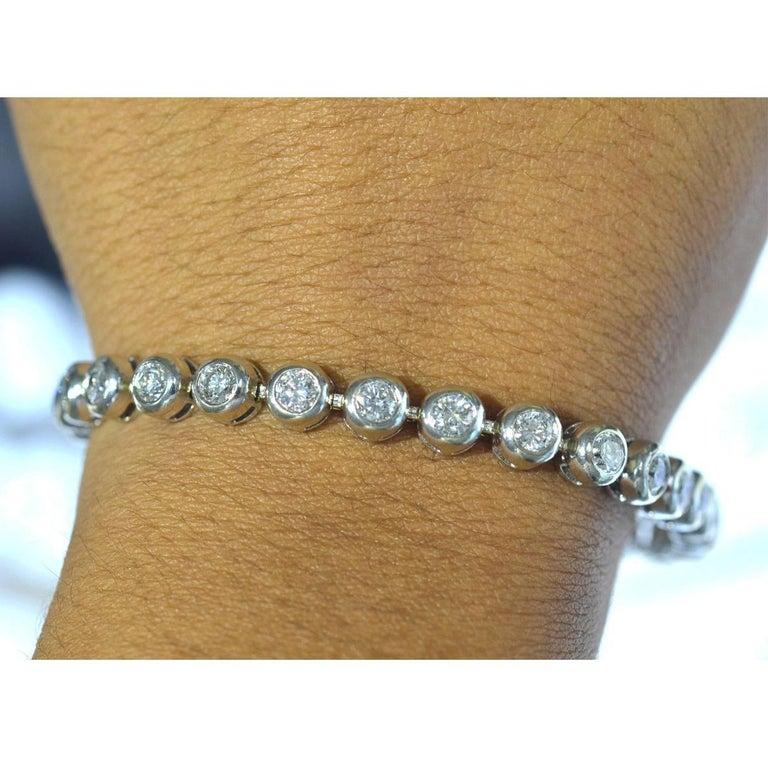 14 Karat White Gold Bezel Set Diamond Tennis Bracelet For Sale 2