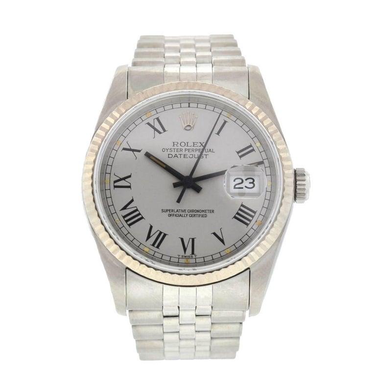Rolex 16234 Datejust Steel Jubilee Bracelet Silver Roman Dial Watch