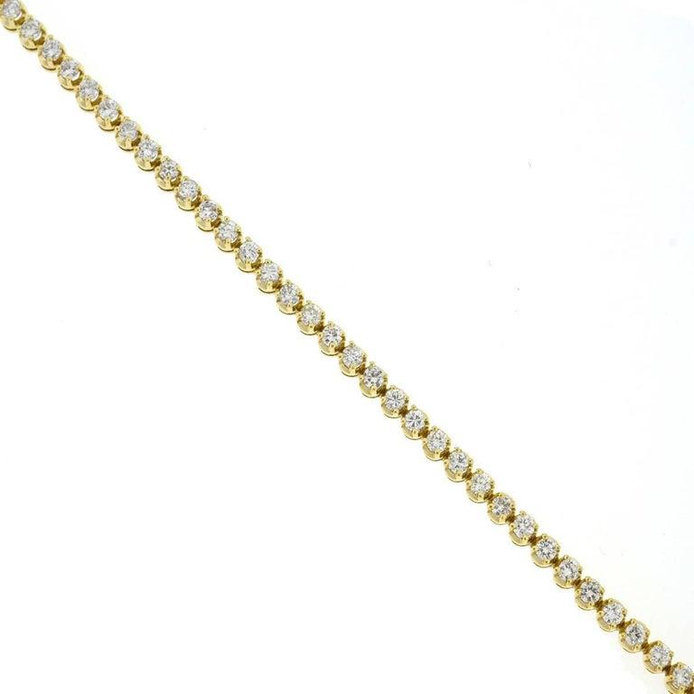 14 Karat Yellow Gold Diamond Tennis Bracelet 2.6 Carat