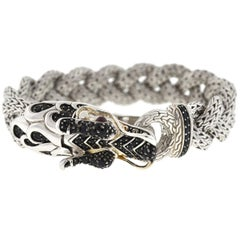 John Hardy Naga Black Sapphire and Sterling Silver Dragon Braided Bracelet