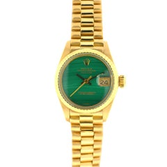 Rolex 6917 18 Karat Yellow Gold Ladies Malachite Dial Datejust President Watch