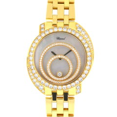 Chopard 18 Karat Yellow Gold Happy Spirit Diamond Ladies Watch