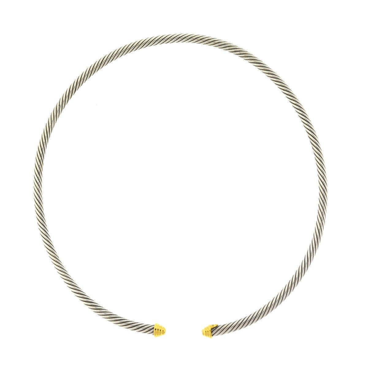 David Yurman 18 Karat Yellow Gold Stainless Steel Classic Collar Necklace