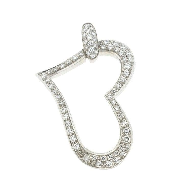 18 Karat White Gold Open Pave Heart Diamond Pendant .96 Carat