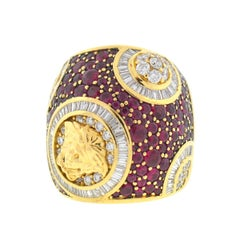 18 Karat Yellow Gold Versace Medusa Ruby Diamond Muse 2012 Collection Ring