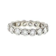 18 Karat White Gold Diamond Eternity Band Ring 3.75 Carat