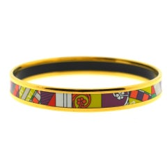 Hermès Multi-Color Gold Tone Thin Bangle Bracelet