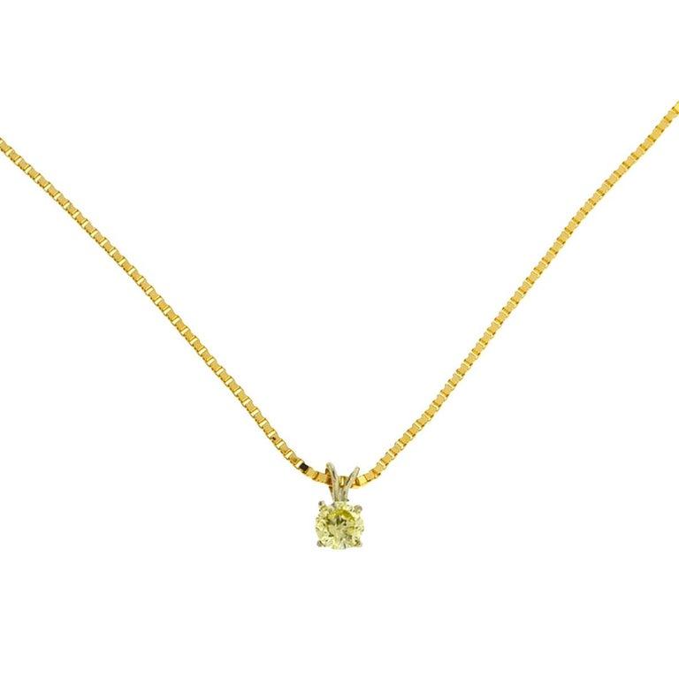 14 Karat Yellow Gold Yellow Diamond Pendant Box Chain Necklace .42 Carat