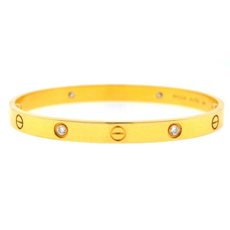 Cartier 18 Karat Yellow Gold LOVE 4 Diamonds Bracelet