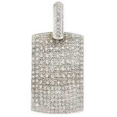 18 Karat White Gold Diamond Dog Tag Pendant Approximate 4.00 Carat