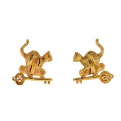 14 Karat Yellow Gold Cat on Key Cufflinks