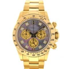 Rolex 116528 Daytona 18k Yellow Gold MOP Factory Diamond Dial Watch