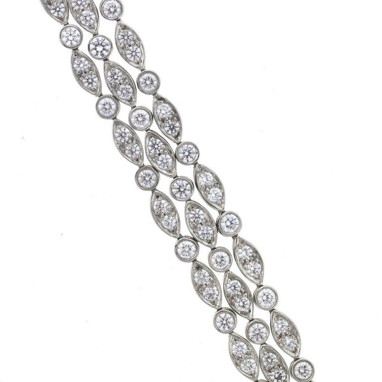 Tiffany and Co Platinum Vintage Three Strand Diamond La s