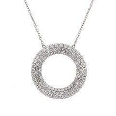 Tiffany & Co. 18 Karat Gold Metro Three-Row Diamond Circle Pendant Necklace