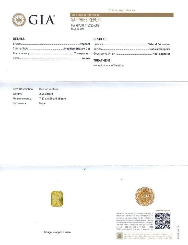 4.70 Carat Radiant Cut Yellow Natural Sapphire and Diamond Platinum Earrings 4