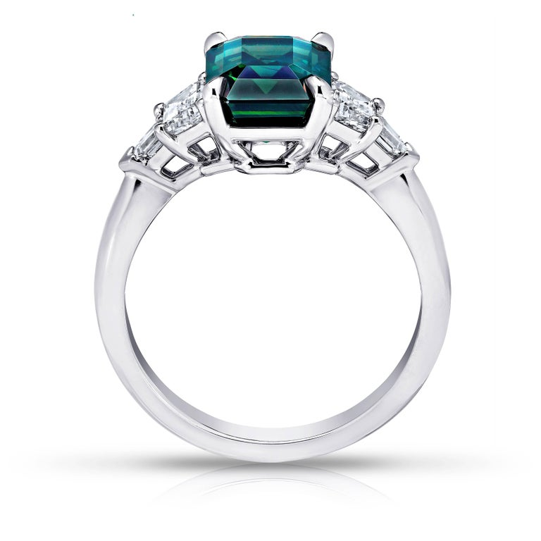 Contemporary 3.83 Carat Emerald Cut Green Sapphire and Diamond Platinum Ring For Sale