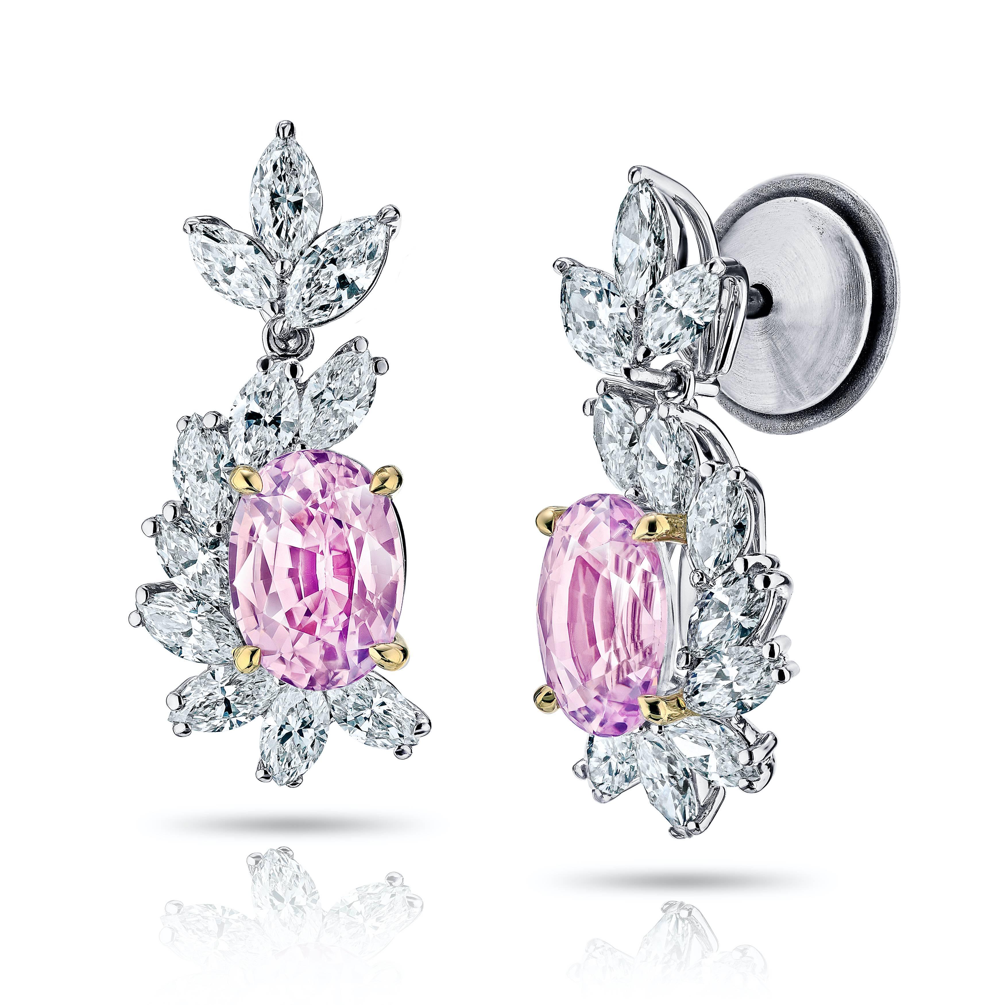 3 69 Carat Oval Natural Padparadscha Sapphire and Diamond Platinum