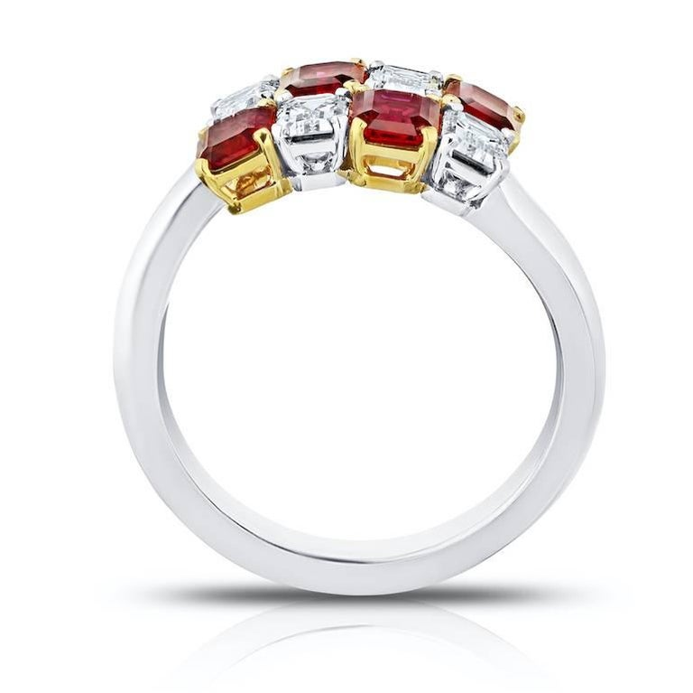 Contemporary 1.81 Carat Emerald Cut Red Ruby and Diamond Platinum and 18k Crossover Ring For Sale