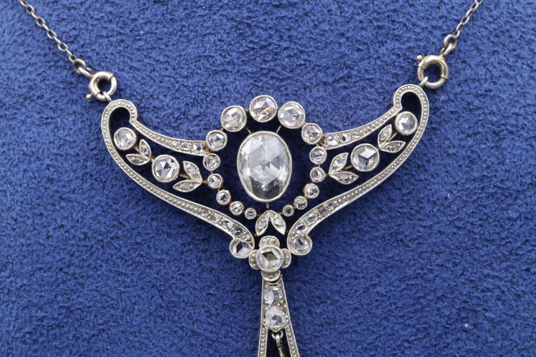 Rose Cut Gold and Diamonds French Belle Époque Pendant For Sale