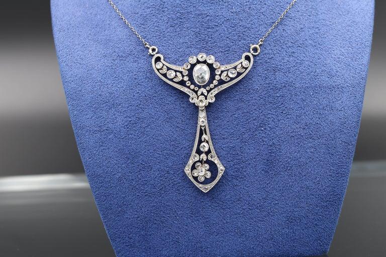 Women's Gold and Diamonds French Belle Époque Pendant For Sale