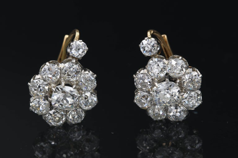 Very Beautiful Late 19th Century Gold Platinum And Diamonds Earrings With High Quality