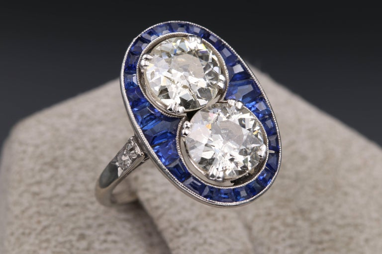 Platinum sapphires and diamonds french art deco toi and for What is platinum jewelry made of