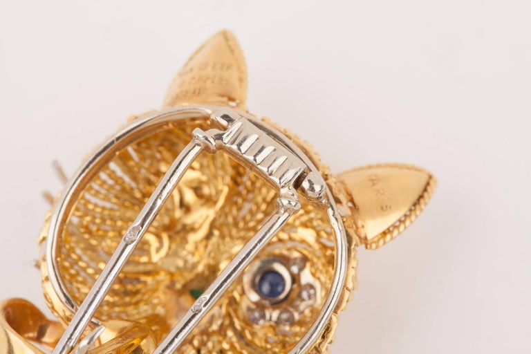 Vintage Gold Sapphire Diamonds and Enamel French Cat Brooch For Sale 9