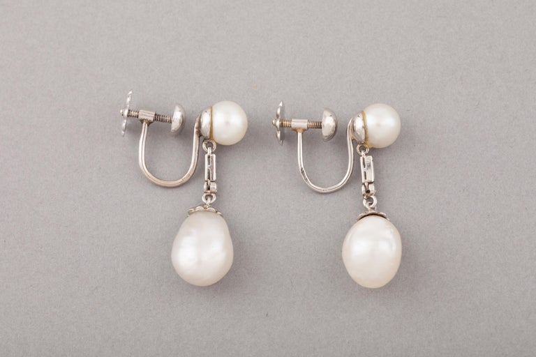 French Certified Antique Natural Pearls Earrings In Good Condition For Sale In Saint-Ouen, FR