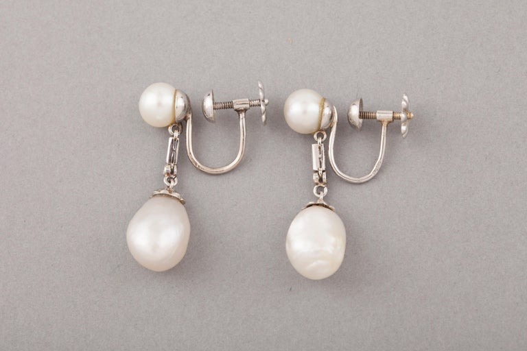 Women's French Certified Antique Natural Pearls Earrings For Sale
