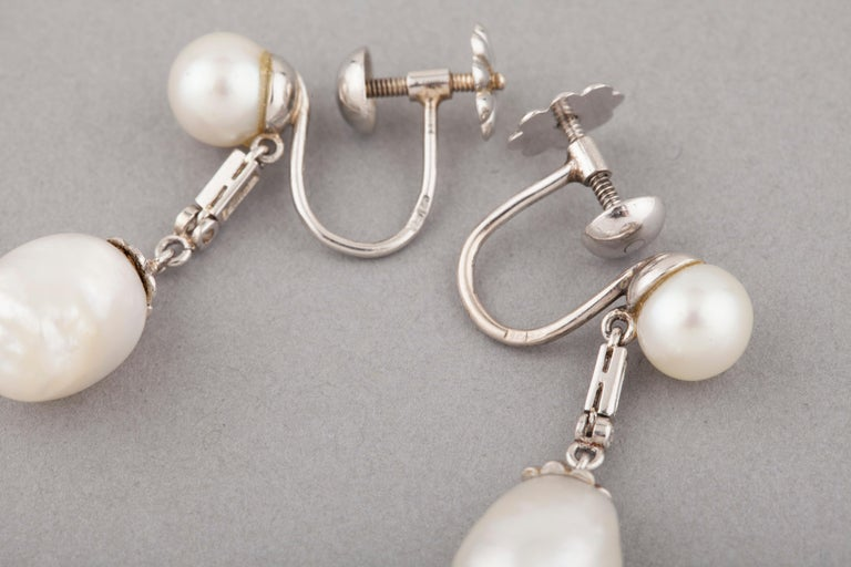 French Certified Antique Natural Pearls Earrings For Sale 1