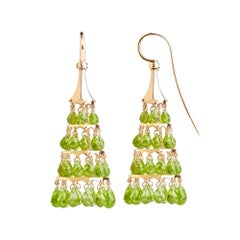 9 Karat Rose Gold, 60.5 Carat Peridot, Dangle Earrings