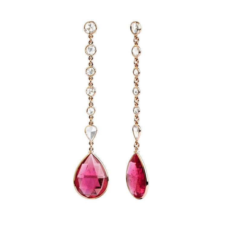 18 Karat Rose Gold 15.78 Carat Rubelite 2.31 Rose Cut Diamond Drop Earrings