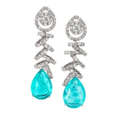 18k White Gold - 24.36ct Paraiba Tourmaline 10.05ct Round Diamond Drop Earrings