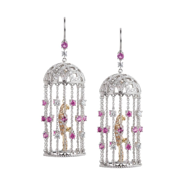 Valadier White and Yellow Gold Pink Sapphire Cage Dangle Drop Earrings