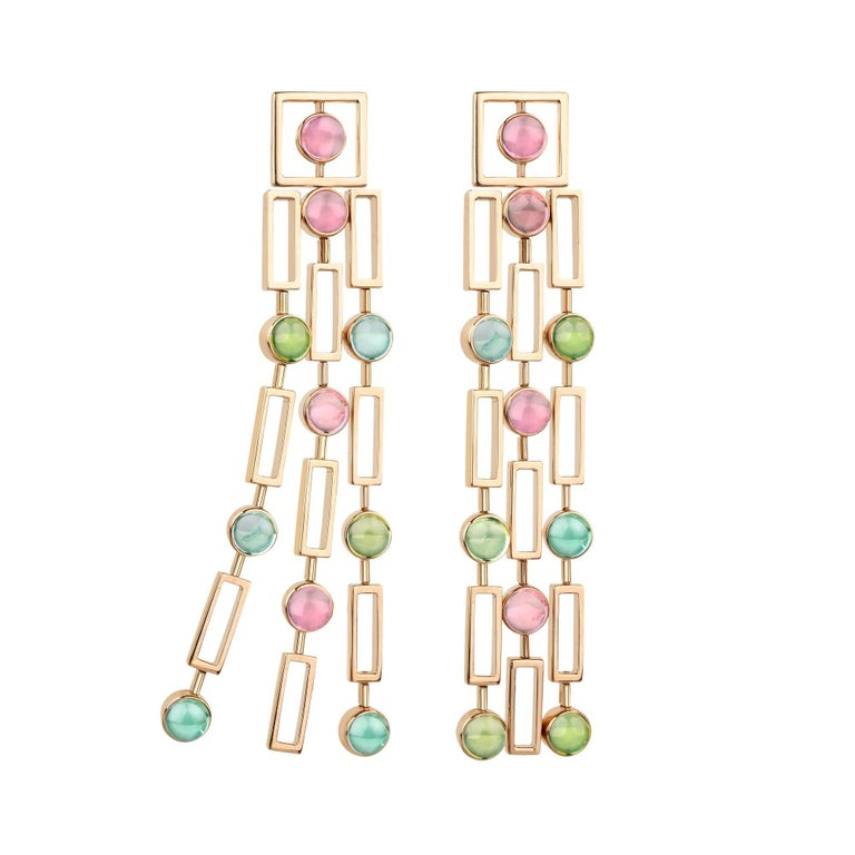 "Cabochon Tourmaline ""Tribute to Klimt"" Valadier Earrings"