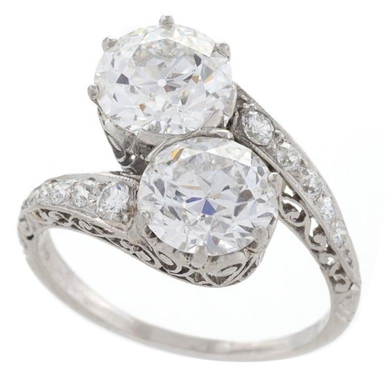 Early Art Deco Diamond Platinum Crossover Ring