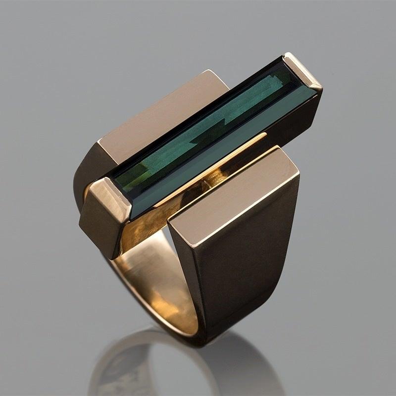 georg jensen wendel danish modernist tourmaline gold ring at 1stdibs. Black Bedroom Furniture Sets. Home Design Ideas