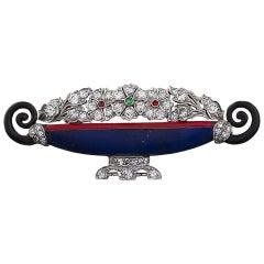 Kohn 1920s Art Deco Jeweled Jardinière Brooch