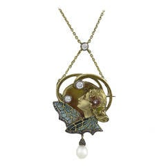 French Art Nouveau Plique-à-Jour Enamel Diamond Gold Maiden Necklace